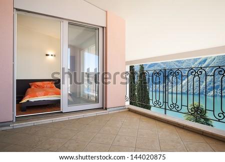 interior luxury apartment, beautiful veranda - stock photo