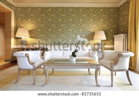 interior luxury apartment, comfortable classic living room - stock photo