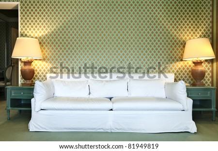 interior luxury apartment, comfortable suit, divan - stock photo