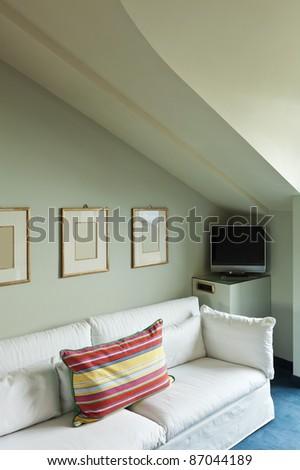 interior luxury apartment, comfortable suit, lounge - stock photo