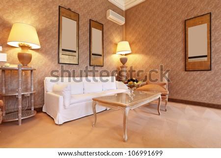 interior luxury apartment, comfortable suite - stock photo