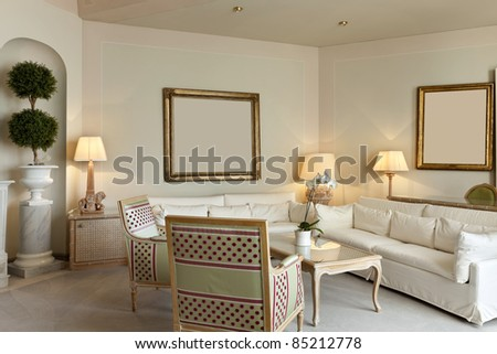 interior luxury apartment, comfortable suite, lounge - stock photo