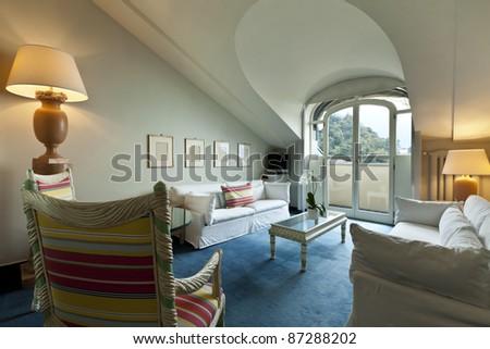 interior luxury apartment, comfortable suite, lounge - stock photo