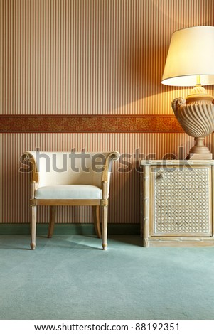 interior luxury apartment, table,chair,lamp