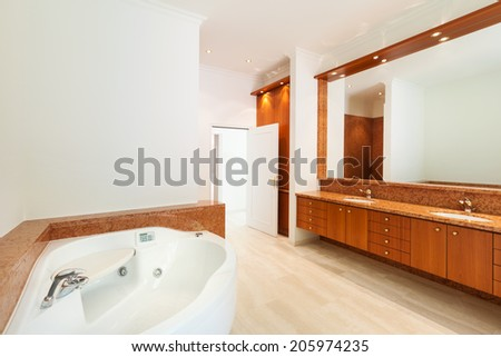 Interior, luxury villa, wide bathroom - stock photo