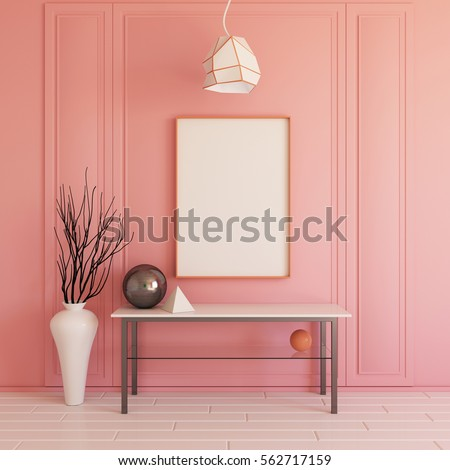 Interior Mockup Illustration 3d Render Pink Wall With Blank Board