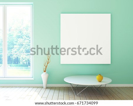 Interior Mockup Illustration Modern Room In Green Color Design With Window An Blank