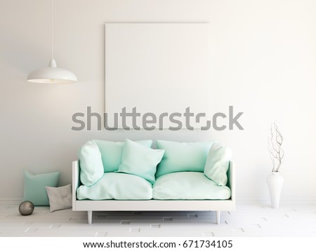 Interior Mockup Illustration Modern Room Design With Sofa And Blank Board