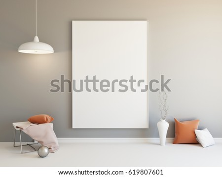 Interior Mockup Illustration Of Grey Room With Blank Vertical Board And Decoration