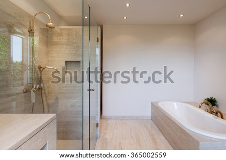 Interior, modern bathroom of an house, bathtub and shower - stock photo