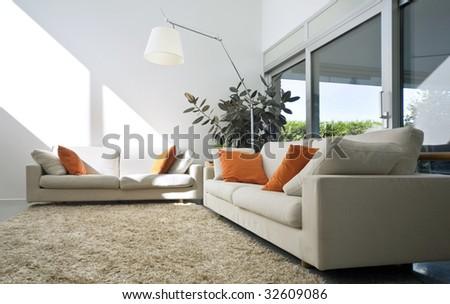 interior modern brick house - stock photo