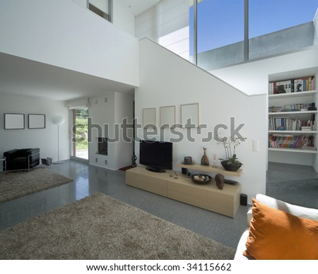 interior modern brick house - stock photo