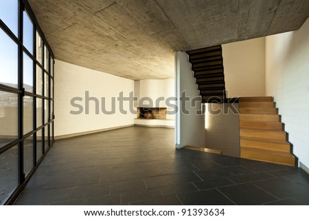 interior modern empty villa, room fireplace - stock photo