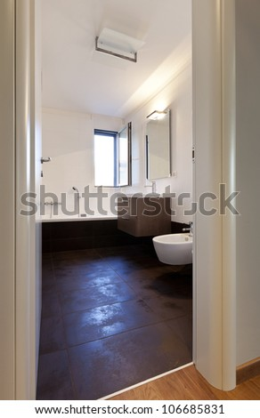 interior modern house, bathroom, open window