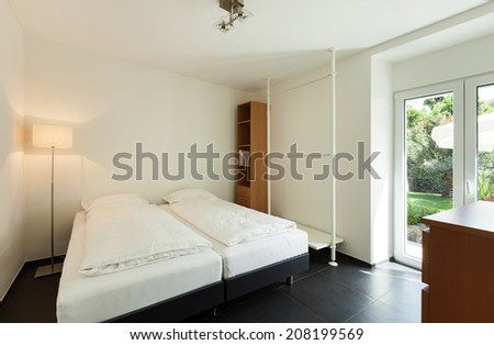 interior modern house, bedroom, double bed