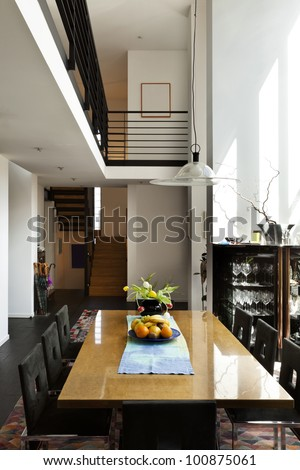 interior modern house , comfort  dining room - stock photo