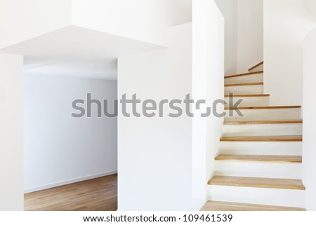 interior modern house, staircase and passage - stock photo
