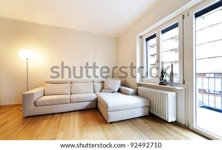 interior modern living room, parquet floors - stock photo