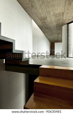 interior modern villa,  wooden staircase - stock photo