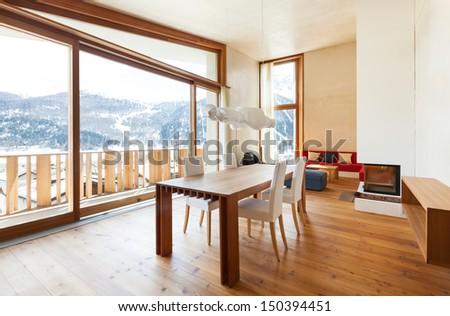 interior mountain house, beautiful dining room  - stock photo