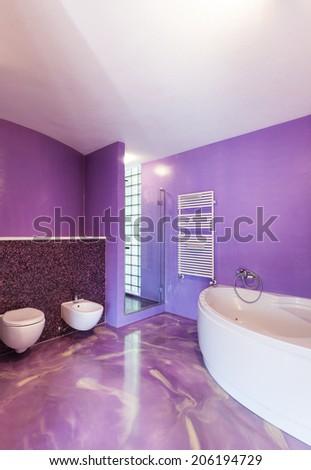 interior, new house, comfortable bathroom - stock photo