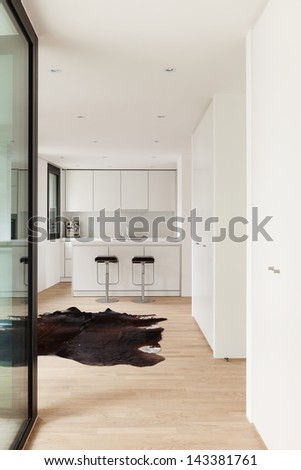 Interior new house, view kitchen from corridor - stock photo