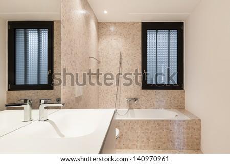 Interior new house, view modern bathroom - stock photo