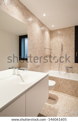 Interior new house, view modern bathroom - stock photo