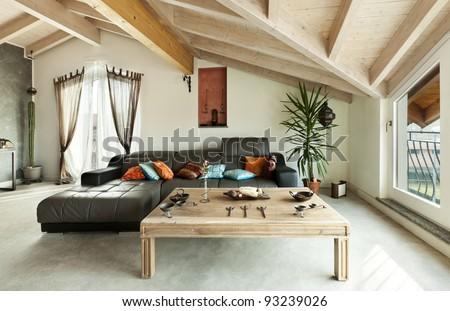 interior new loft, ethnic furniture, living room - stock photo