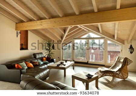 interior new loft, ethnic furniture, livingroom - stock photo