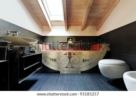 interior, new loft furnished, bathroom with ethnic bath - stock photo