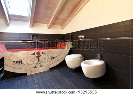 interior, new loft furnished, bathroom with ethnic bath - stock photo