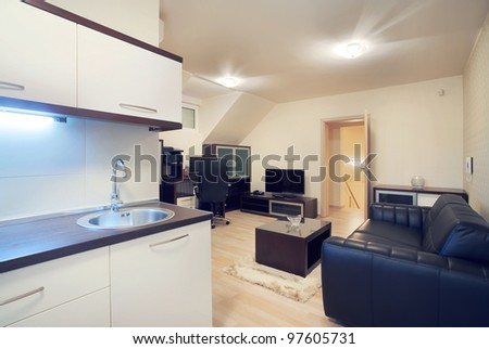 Interior of a apartment room, modern furniture and design.