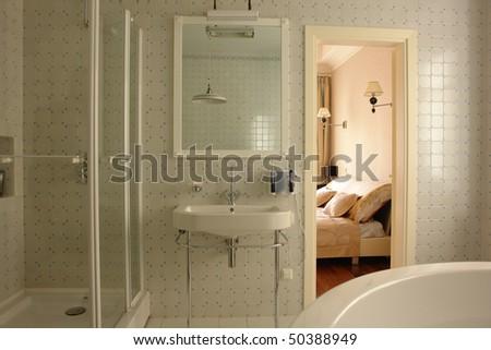 interior of a bathroom - stock photo