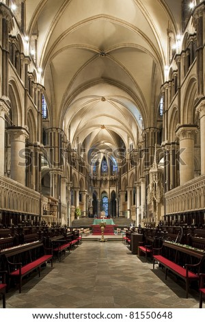 Interior of a beautiful gothic Canterbury Cathedral with pointed arches - stock photo