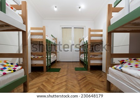 Interior of a bedroom in hostel - stock photo