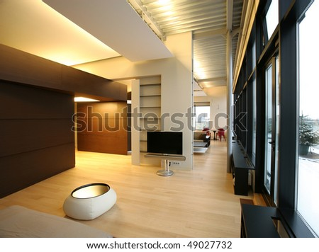 interior of a big living room in perspective - stock photo