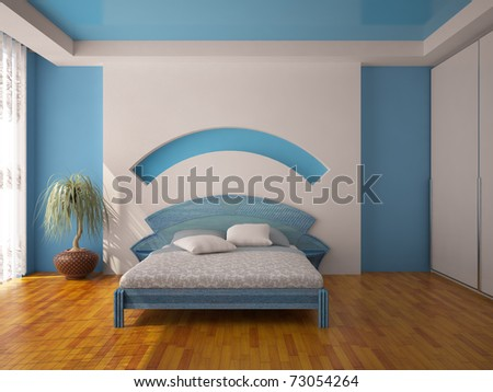 Interior of a blue bedroom - stock photo