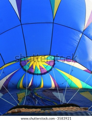 interior of a blue hot air balloon - stock photo