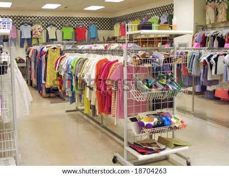 Interior of a bright, clean thrift shop - stock photo