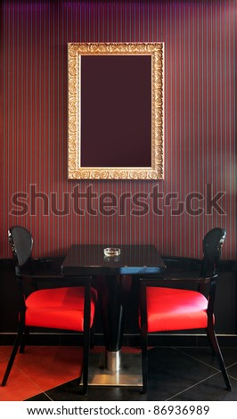 Interior of a cafe, mixed vintage and modern style of design. - stock photo