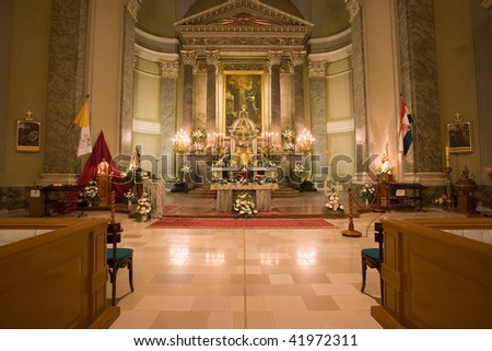 Interior of a catholic church