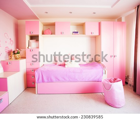 Interior of a child. Interior nursery for girl. Nobody - stock photo