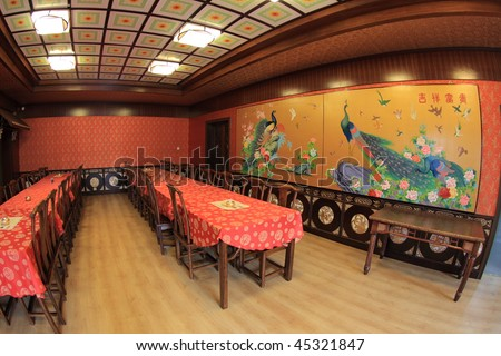 interior of a Chinese restaurant - stock photo