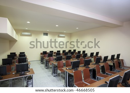 interior of a classroom - stock photo