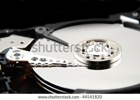 interior of a compute hard drive - stock photo
