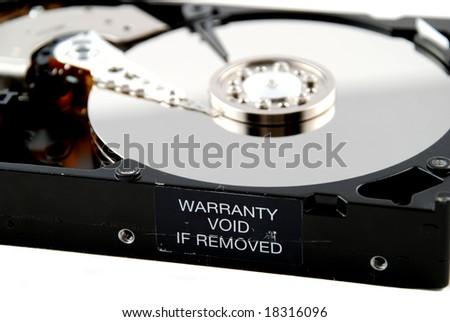 interior of a computer hard drive - stock photo