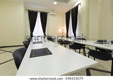 Interior of a conference room in a hotel building