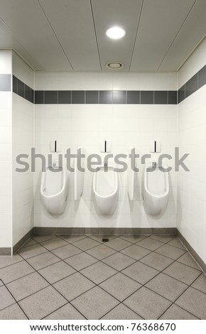 interior of a Congress Palace, public toilets, urinal - stock photo