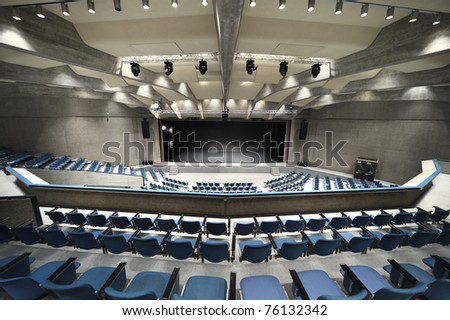 interior of a Congress Palace, stage - stock photo